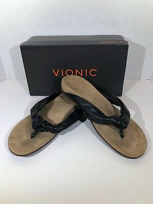 80123ca804d8 Womens Vionic Rest Pippa Women s Size 7 Black Leather Thong Sandals X15-1215