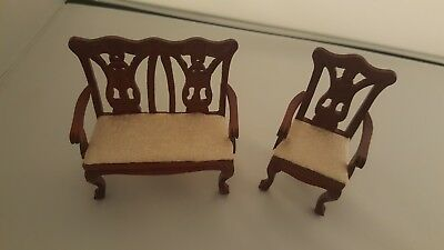 Vintage 12Th Scale Dolls House Furniture Mahogany Antique Style Settee & Chair