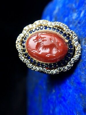 Old  Carnelian Intaglio Signet Deer REAL Sapphire Engraved Sterling Silver Ring