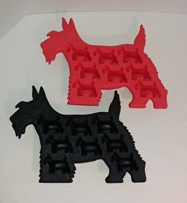 LEKUE Silicone Scottie Dog Molds soap ice black and red set of two