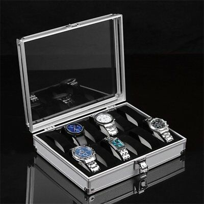 Aluminium Square Jewelry 12 Grid Slots Watches Display Storage Box Case6WV