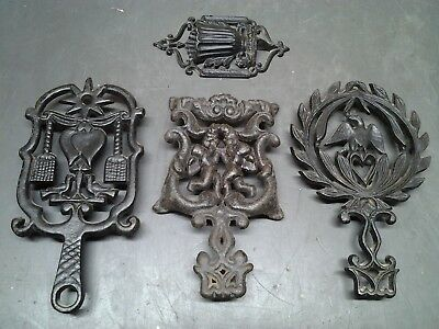 Vintage Lot of 3 Cast Iron Trivets  John Wright, Wilson, One Unbranded