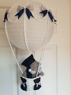 Hot Air Balloon navy grey with a me to you bear Looks Stunning  Nursery Baby
