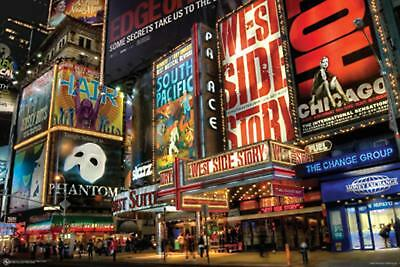 Laminated New York City Broadway Times Square Art Print Poster 36X24