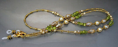 Spectacle Glasses Eyeglass Beaded Chain Holder Peridot Gold Pearl S1855