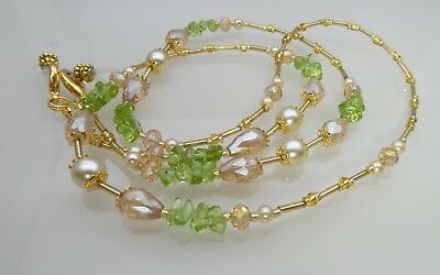 Spectacle Glasses Eyeglass Beaded Chain Holder Peridot Gold Crystal S1855