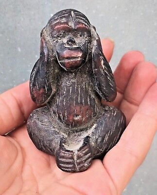 Antique Hand Carved Wooden Wood Sculpture STATUE OF MONKEY