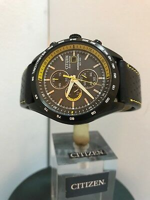 CITIZEN Men's ECO-DRIVE CHRONOGRAPH BLACK & Yellow Sports LEATHER STRAP WATCH