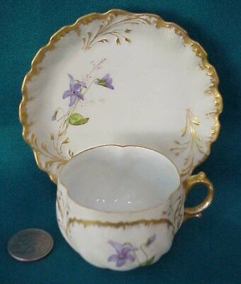 RARE Antique MR France Limoges Demitasse Cup & Saucer Hand Painted Irises