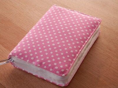 New World Translation 2013 Zipped Fabric Bible Cover - Pink with White Spots