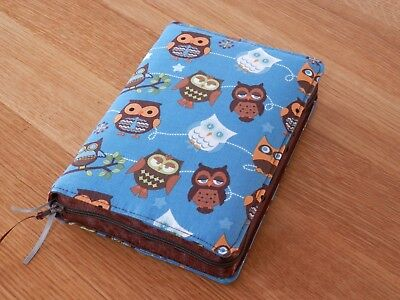 New World Translation 2013 Zipped Fabric Bible Cover - Owls on Teal