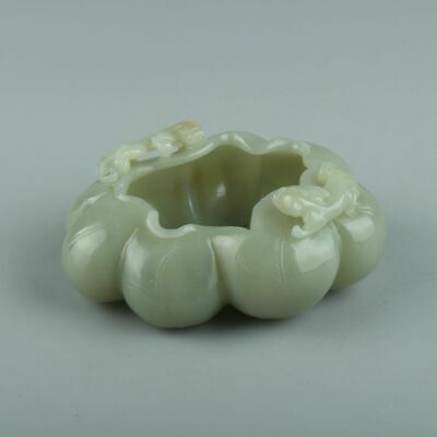 Chinese Exquisite Hand-carved Two beasts Carving Hetian jade Brush Washer