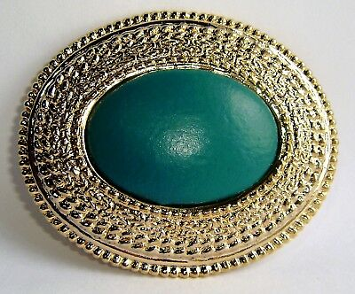 Vintage DAY-LOR Belt Buckle Gold Oval Blue-Green Leather Center
