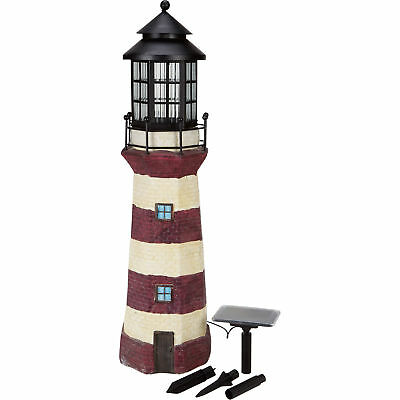 Solar Powered LED Outdoor Lighthouse Home Garden Yard Decor, 35in.H - Red/Ivory