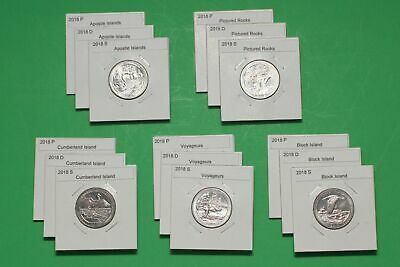 2018 PDS America The Beautiful Quarters(ATB) 15 Coin Set-Mint Bags-Free Shipping