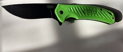 Spring Assisted Open Green w Black Blade Hunting Tactical Folding Pocket Knife