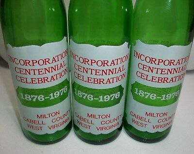 Lot Of 3-Vintage 1876-1976 Milton Cabell County West Virginia Green Commemorativ
