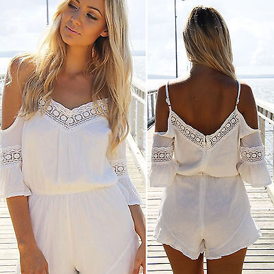 00df85abd98 Womens Cold Shoulder Mini Playsuit Chiffon Jumpsuit Romper Summer Beach  Shorts