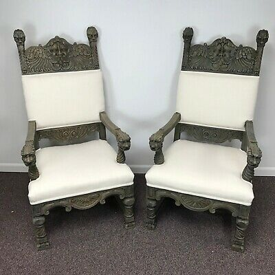 Pair of 19th C Gothic Revival Throne Chairs w/ North Wind Carvings