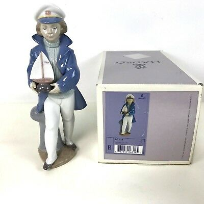 Retired Lladro Figurine Little Sailor Boy 6314 Boy With Sailboat Mint W Box