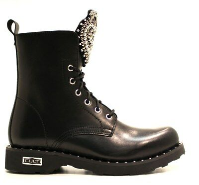 3bd13ce4b2df41 CULT stivali stivaletti anfibi donna CLE103877 ZEPPELIN MID 2666 LEATHER  BLACK