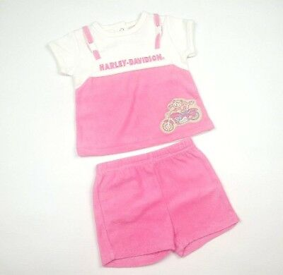 Harley Davidson Baby Girl Size 3/6 Month Born To Ride Pink 2pc Outfit