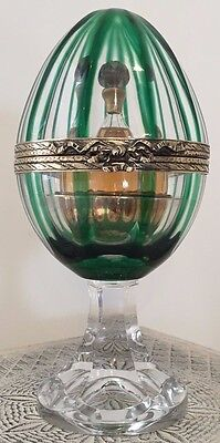 Faberge Perfume in Emerald Green Millennium Egg W/Gilded Silver Mountings