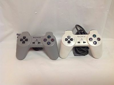 Official OEM Sony PlayStation PS1 Gray & White Controllers - 3L