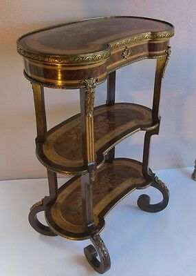 Exquisite 19th C. FRENCH LOUIS XVI Exotic Woods Etagere  c. 1880s  antique table