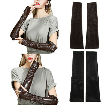 Ladies Women Opera Long Leather Fingerless Driving Gloves Hand Arm Warmer