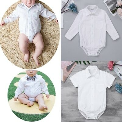Infant Baby Boys Long Sleeve Formal Dress Shirt Bodysuit Romper Party Outfits