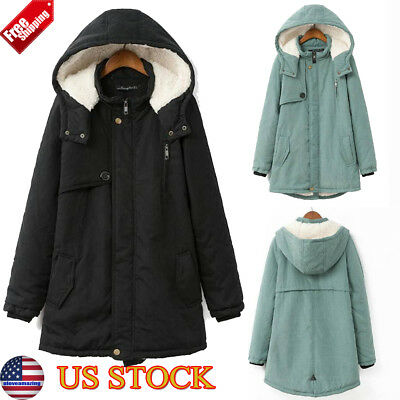 Women Winter Warm Hooded Fleece Lined Long Jacket Coat Parka Oversize Plus Sizes