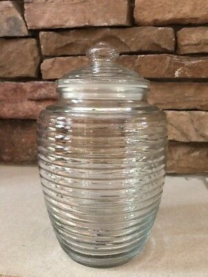 """Vintage Large Glass Ribbed Canister Container Beehive Jar & Lid 10"""""""