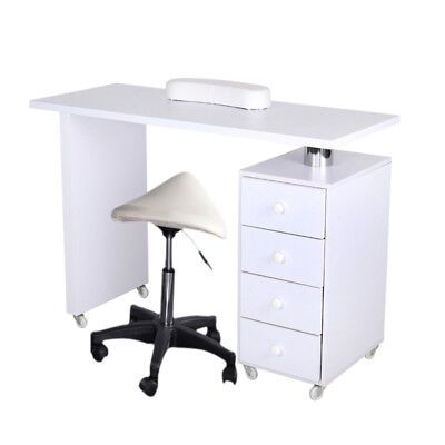 Beauty Salon White Wooden Manicure Technician Table Nail Station Desk Stool Move