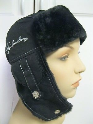 New With Tags Divas Snow Gear Black Trapper Hat Cotton Outer Faux Fur Inner DSG