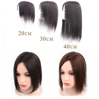 Women 100% Real Human Hair Extensions Invisible Clip in Topper Mono Hairpiece