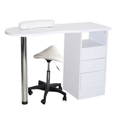 Manicure Table Nail Station Desk Beauty Stand Manicuring Bar with Drawers Stool