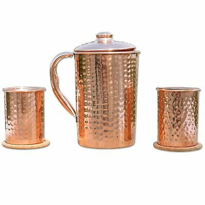 Water Copper Jug 1.5L Hammered Pitcher With 2 Hammered Copper Tumbler