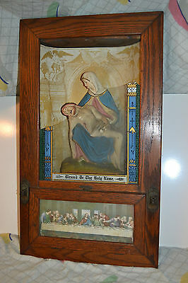 Vtg Wood Glass Picture Frame Religious Catholic Jesus Mary Shadow box statue