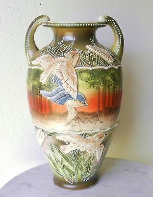 """Antique 12.5"""" Japanese Early Moriage Porcelain Vase Raised Sparrows Nippon"""