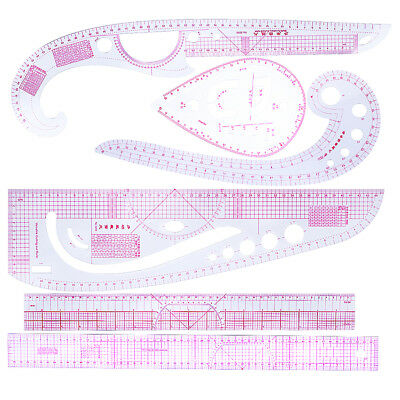 6pcs Multifunction French Curve Ruler Set for Sewing Drawings Clothes Design