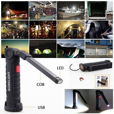 Multifunction Rechargeable COB LED Slim Work Light Lamp Flashlight Magnetic CA