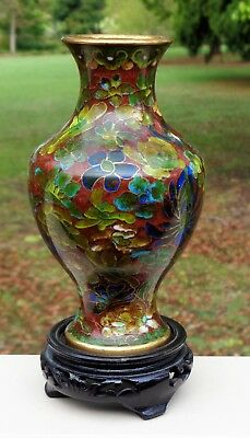 Lovely Vintage Antique Oriental Chinese Enamel Cloisonne Vase on Wooden Base