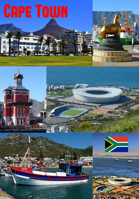 Cape Town, South Africa - Souvenir Novelty Fridge Magnet - Flag / Sights / Gifts