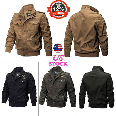 Men Bomber Airforce Aviation Wear Combat Field Jacket Military Army Quilted Coat