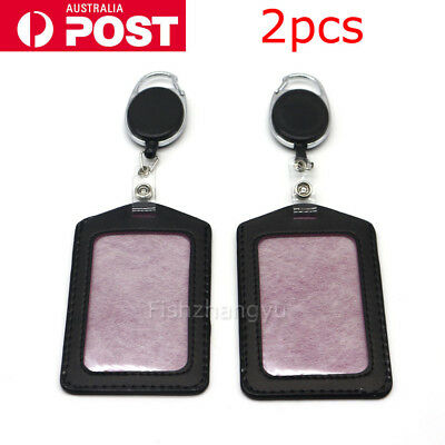 2X Retractable Lanyard ID Badge Opal Card Holder Business Security Pass