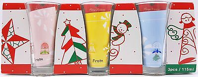 Christmas Holiday Tall Party Shot Glass Set of 3 Angels Snowman New Vintage