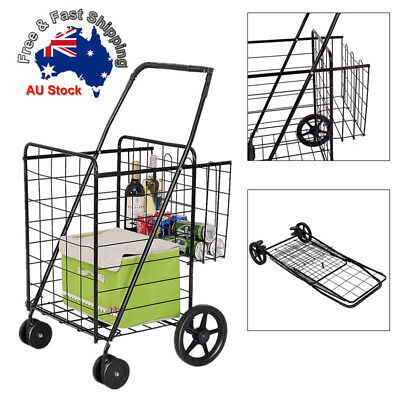Shopping/Grocery Trolley Cart Basket Bag Foldable Metal Luggage Universal Wheels