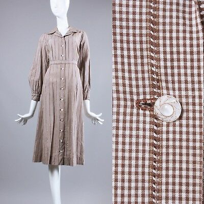L/XL Vintage 1930s Brown Shirtwaist Dress Plaid Cotton Long Slv Glass Button 40s
