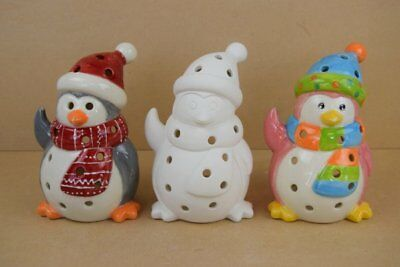 Bisque Ceramic Tealight Holder - Penguin - Ready to Paint